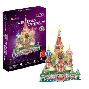 New LED Light St. Basil's Cathedral 3D Model Paper Jigsaw Puzzle 224 Pieces