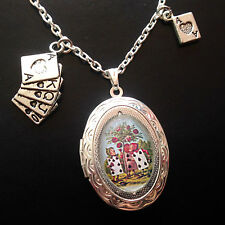 Alice Wonderland CARDS ROSES Tenniel Silver Locket Necklace Diamonds Hearts Ace