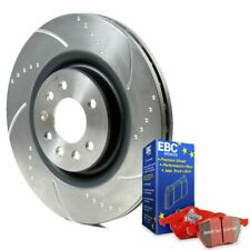 Chrysler 300C Front Brake Discs and Pads EBC Redstuff Dimpled Grooved Discs