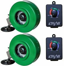 """(2) HYDROFARM ACDF6 Active Air 6"""" In-Line Fans + (2) ACSC Fan Speed Controllers"""