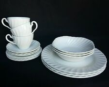 Johnson Brothers Regency Ironstone 15 Piece Set Dinnerware White Swirl