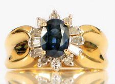 VTG DESIGNER SIGNED T&C 14K YELLOW GOLD BLUE SAPPHIRE BAGUETTE DIAMOND HALO RING