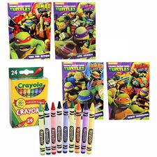 4 TMNT Ninja Turtles Kids Coloring & Activity Books +24 Crayola Crayons Gift Set