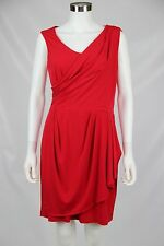 Calvin Klein Womens Size 10 Red Stretch Sleeveless Faux Wrap Career Dress