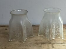 """ANTIQUE HANDKERCHIEF ETCHED RIBBONS HURRICANE GLASS SHADE APPROX 5 1/2"""" TALL"""
