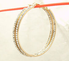 "2"" Bellezza Inside Out Crystal Round Hoop Earrings Lever Back Yellow Bronze"