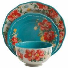 The Pioneer Woman Vintage Floral 12piece Dinnerware Set Teal