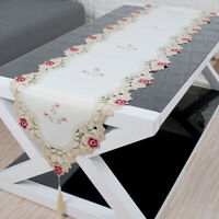 Vintage Embroidered Lace Table Runner Dining Table Mats Wedding Party Home Decor