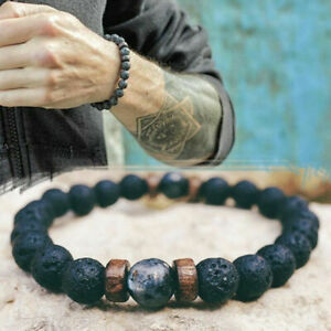 Natural Volcanic Lava Rock 7 Chakra Stone Beads  Geometric Bracelet Jewelry