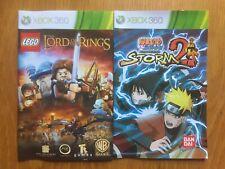 Lego Lord Of The Rings & Naruto Shippuden Ultimate Ninja Storm2 Manual Xbox 360