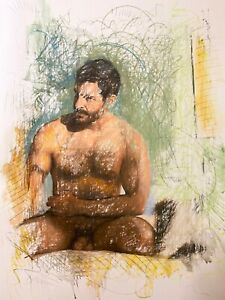 Male Nude Figure Drawing Pastel on Paper Signed Original Mixed Media Gay Queer