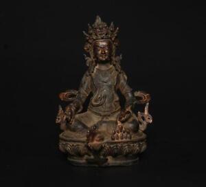 ANTIQUE CHINESE BRASS STATUE SIT BUDDHA (L116)