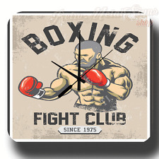 BOXING FIGHT CLUB RETRO GYM MAN CAVE METAL TIN SIGN WALL CLOCK