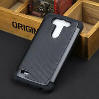 Black Rugged Rubber Impact Hybrid Shock Proof Armor Case Cover Films For LG G3