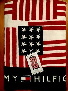 TOMMY HILFIGER 35 x 66 Inch Repeating Americana Flags Pattern Beach TOWEL NWT