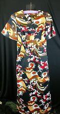 Vintage Hawaiian Dress Wedding Maxi Rayon Sz 2 Royal Palm Hawaii Kimono Asian  b
