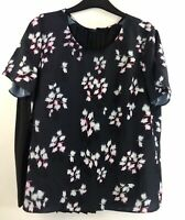 FRENCH CONNECTION Large Blue Womens Floral Short Sleeve Top Blouse