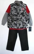 Lucky Brand Boys Red Shirt/Camo Vest/Black Jeans 3-Piece Set (2T) NWT