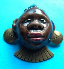 Broche Porcelaine Peinte & Laiton Vintage / Brooch