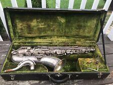 Vintage Frank Holton Bb Silver Tenor Saxophone Sax W/ Original Case !!