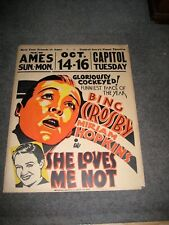 Movie Poster She loves Me Not Bing Crosby Miriam Hopkins Ames Theatre Iowa 1934