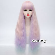 Pink Mixed Light Purple 80CM Long Curly Hair Cosplay Heat Resistant Lolita Wig
