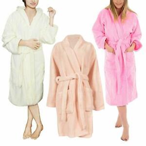 Women Bathrobe Long Sleeve Fleece Dressing Comfy Plain Luxury Gown One Size