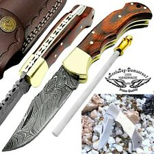 Damascus Steel Folding Pocket Knife Back Lock Red Wood 6.5 Inch Custom Handmade