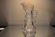 American Brilliant Period Cut Glass Juice Pitcher ANTIQUE ABP Hobstar