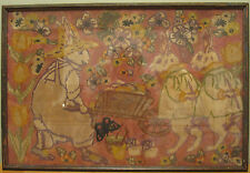 ANTIQUE AMERICAN FOLK ART PAINTING EASTER BUNNY RABBITS EGGS MEDIA MASTERPIECE