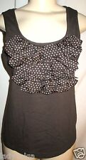 WORTH French Roast Modal Knit Dot Ruffle Neck Tee Top Cotton Silk sz S $158 NWT