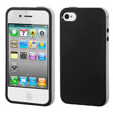 APPLE iPHONE 4 4S CANDY SOFT GEL TPU SKIN CASE COVER ACCESSORY BLACK GRAY