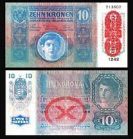 AUSTRIA -Hungary Empire 1915 VF / XF  10 Kronen /Korona OverprintOESTERREICH