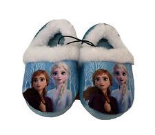 DIsney Frozen 2 Anna & Elsa Girl Plush Slippers Toddler Size 7-8 Blue