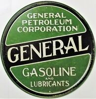 PLAQUE METAL vintage USA huile GENERAL GASOLINE -  30 cm