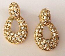 Swarovski Crystal Swan Stamped Post Gold Plated Door Knocker Pierced Earrings