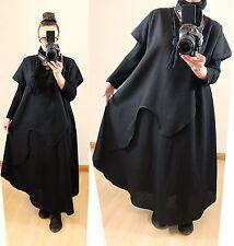 Nuevo talla 52 54 56 Lagenlook lejos globo Long túnica lino VESTIDO LONGSHIRT negro