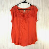 Lucky Brand Sleeveless Boho Blouse Top Women's Size M Orange