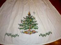 Vintage Christmas Holiday Hostess Full Length Linen Hand Stitched Apron Fine