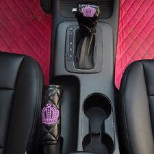 2pcs Fashion Black Crown Auto Car Gear Shift Cover & Hand Braker Cover 001