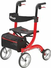 drive Nitro Euro Style Rollator Walker 300 lbs. Aluminum Red RTL10266