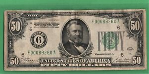 ***  1928 $50.00 IN GOLD NUMERAL DIST  #6     ****