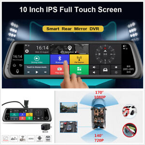 """10"""" Full Touch IPS 4G Car DVR Dual Camera Android Mirror GPS Bluetooth WIFI ADAS"""