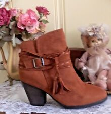Womens Boho Ankle Boots By Bamboo Camel Suede Brown Size 10