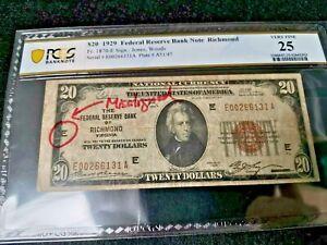 1929 US$20 Federal Reserve Bank Note Misaligned Error (w/o error description)
