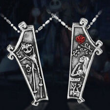 2PC Silver The Nightmare Before Christmas Jack Sally Pendant Necklace Lover Gift