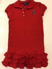 RALPH LAUREN Supe Rare red POLO  dress with Teddy BEAR ice skating MINT ruffled