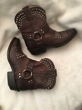 FRYE BILLY STUDDED HARNESS SHORT MOTO BIKER BOOTS LEATHER sz 5.5 b new