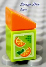NEW Lego Minifig ORANGE JUICE Carton Food Kitchen Boy/Girl Minifigure
