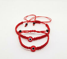 Mom and Baby Red string rope circle blue evil eye charm handmade bracelet